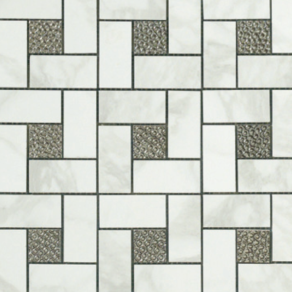 12.6×12.6 Pinwheel Deco Mosaic Semi-Polished