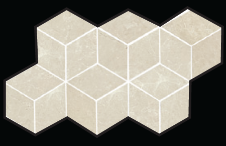 3D Hex Mosaic 7×12 Sheet Beige Polished