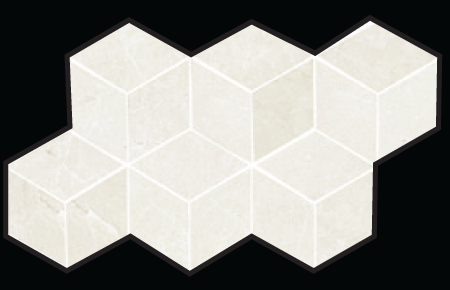 3D Hex Mosaic 7×12 Sheet Bianco Polished