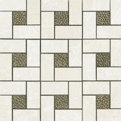 Bianco (12×12 Sheet) Pinwheel Deco Mosaic Polished