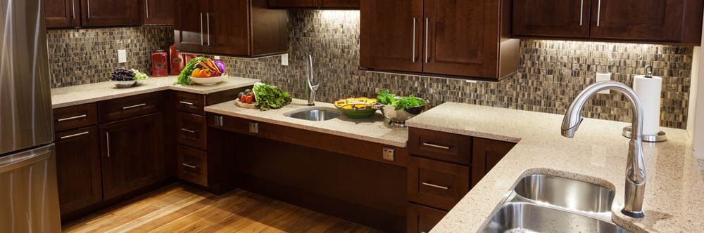 tile backsplash with quartz countertops