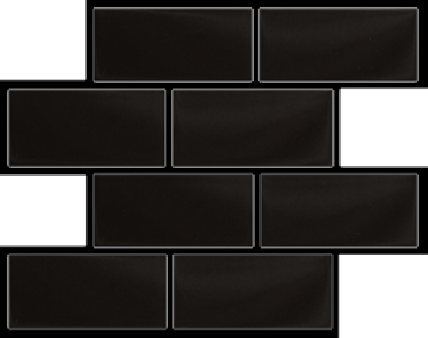 Crystal 3 x 6 Subway Tiles Black