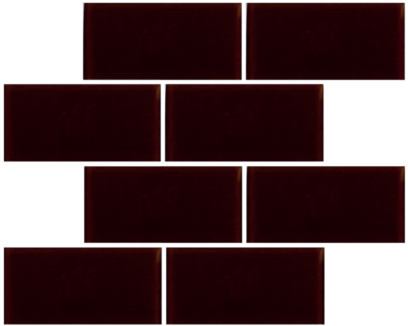 Crystal 3 x 6 Subway Tiles Ruby Red