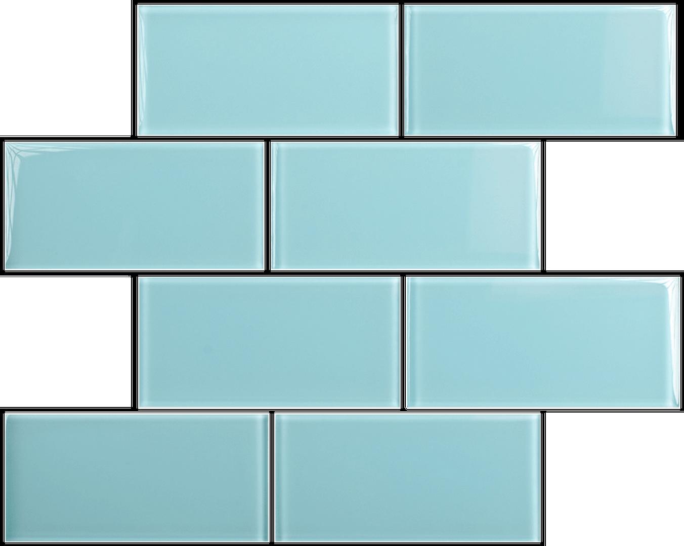 Crystal 3 x 6 Subway Tiles Sky Blue