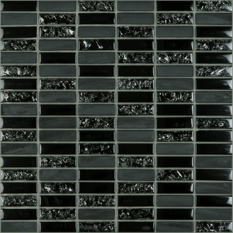 Crackle Black 1.8 x 0.6 Mosaic 12x12 Sheet