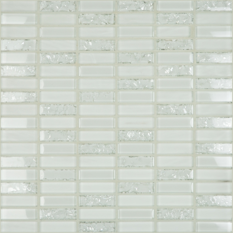 Crackle White 1.8 x 0.6 Mosaic 12x12 Sheet