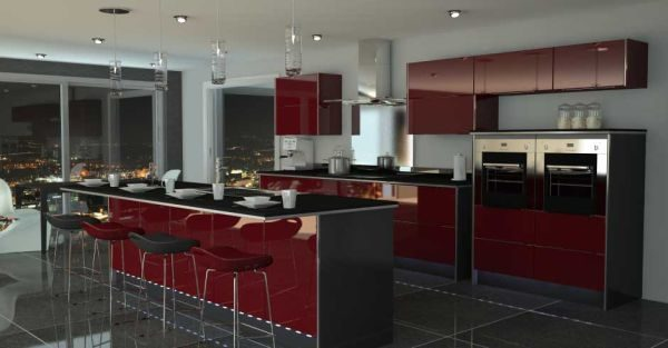 Kitchen-In-Red-And-Black